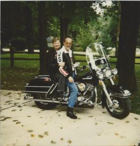 Wife and I on our 1975 FLH Shovelhead